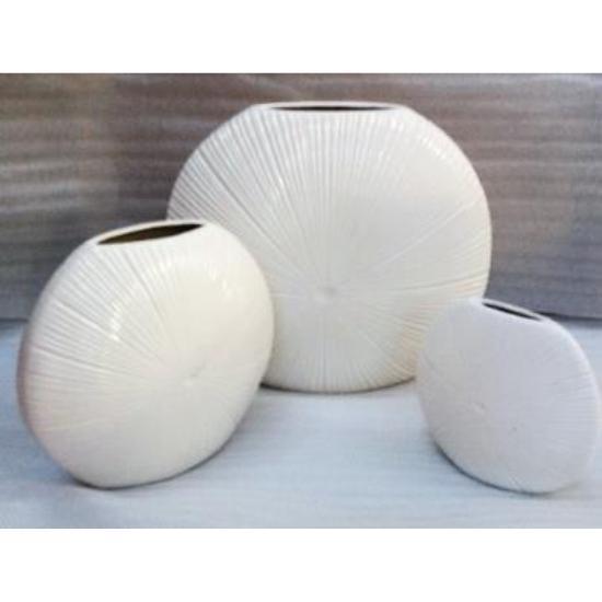 Vase - sea urchin vase round - ceramic - medium 33cm / white