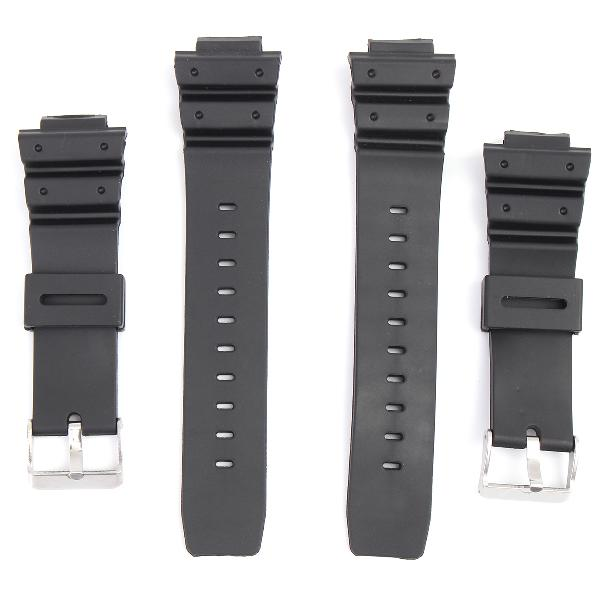 16mm silicone black strap watch band replacement with pins