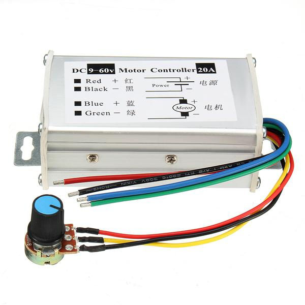 Dc 9-60v 20a pwm motor stepless variable speed controller
