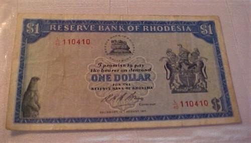 Reserve bank of rhodesia: salisbury: one dollar banknote