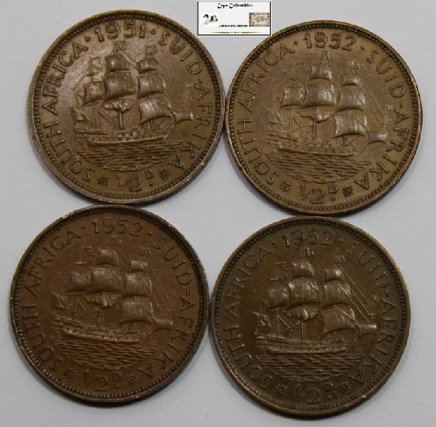 South africa 1/2 penny coin 1951/1952x3 (four) vf20
