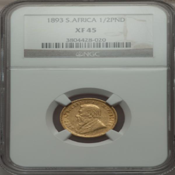 South africa (zar) 1893 1/2 pond (half pond) xf45 (ngc) -