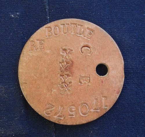 WWII British Dog Tag / Identity tag for RE Boutle (CE) no