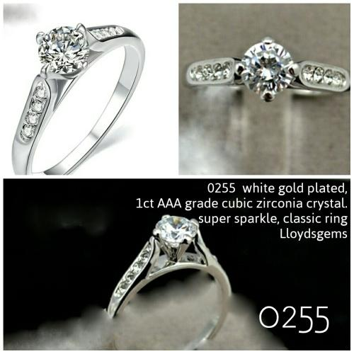 18k white gold plated cz engagement free ring box 5.5, 6 or