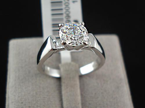 18k white gold plated solitaire engagement ring, free