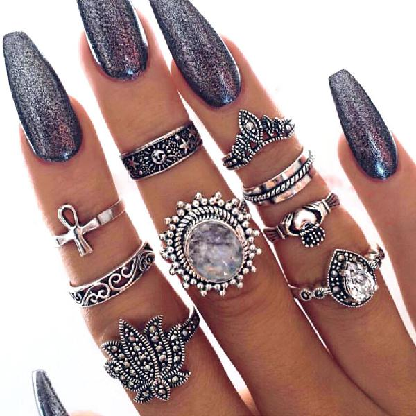 9pcs bohemian statement ring sets vintage geometric sun