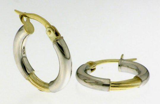 9k / 9ct gold creole hoop earrings: 2 tone