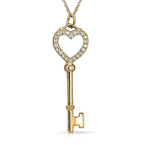 Bling jewelry gold plated open heart key pendant clear cz