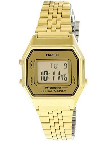 Casio ladies mid-size gold tone digital retro watch