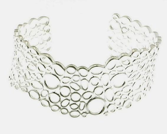 Designer circles cuff bangle: sterling silver =a broad, bold