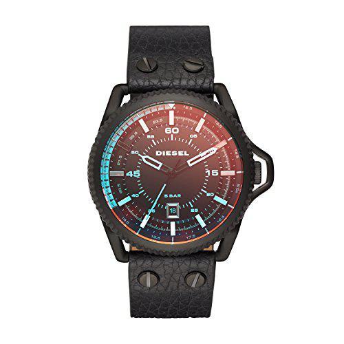 Diesel men's dz1793 rollcage black ip black leather watch