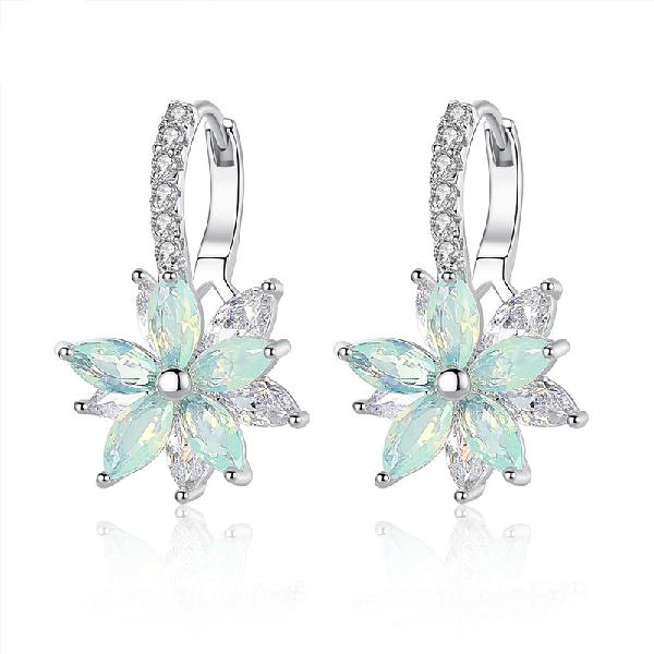 Fashion flower zirconia silver women's earrings anallergic