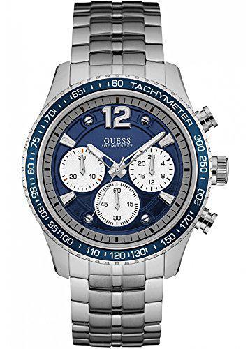 Guess watches men's guess men's silver-blue watch