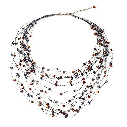 Novica dyed cultured freshwater pearl multi-strand necklace,