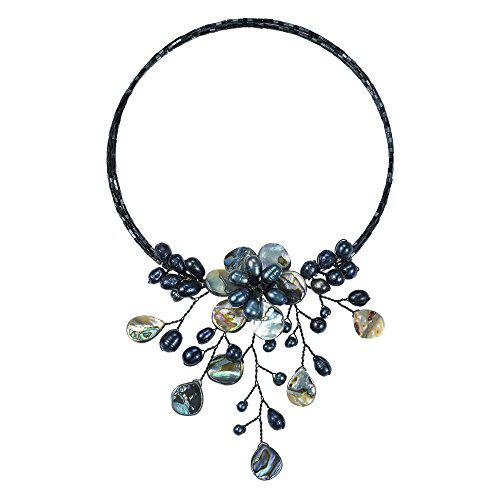 Pretty black abalone shell flower ray choker wrap necklace