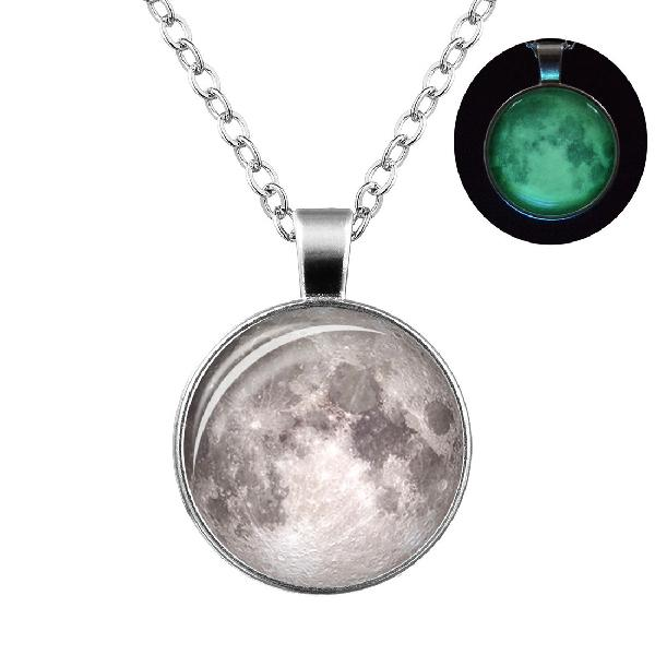 Retro luminous moon long necklace sliver alloy sweater
