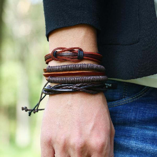 Retro woven multilayer bracelet soft leather 6 pieces
