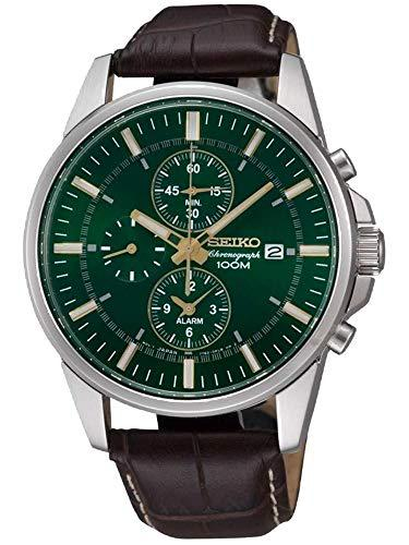 Seiko #snaf09 men's leather band green dial alarm
