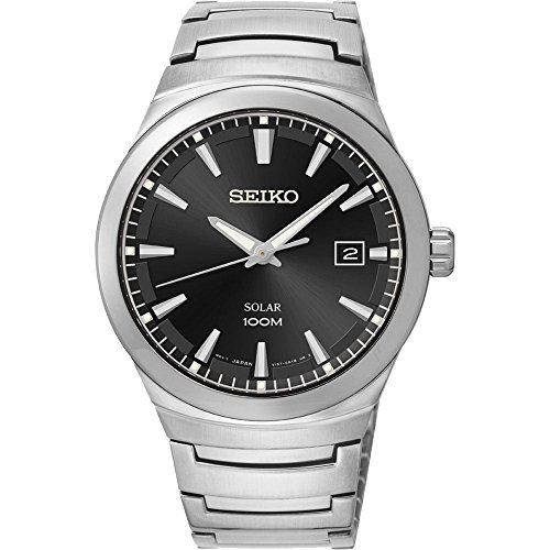 Seiko solar black dial stainless steel mens watch sne291 by
