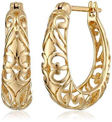 Sterling silver textured filigree round hoop earrings (0.7