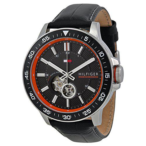 Tommy hilfiger brooks black dial black leather mens watch