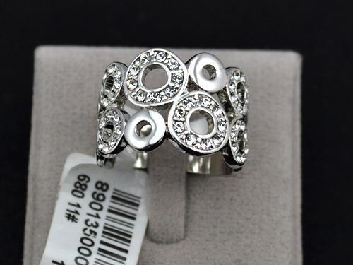 White gold plated rhinestone circles ring, free ring box,