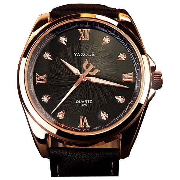 Yazole 325 fashion crystal bling business men wrist analog