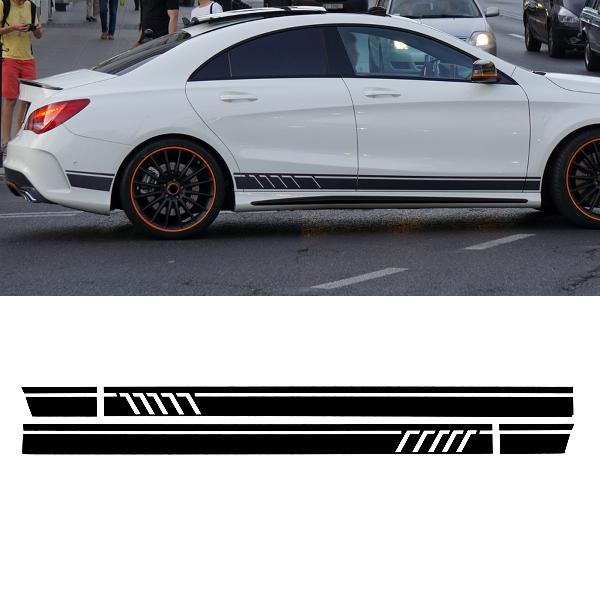 Pair sport side stripes car stickers decals for benz w117