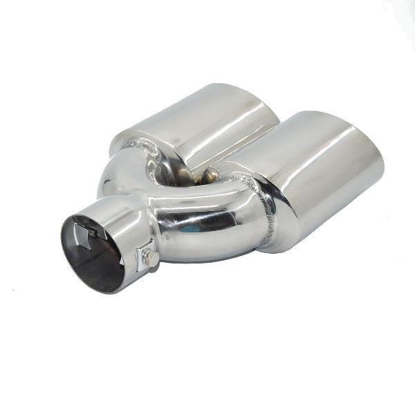 Universal chrome stainless steel car exhaust dual tailpipe