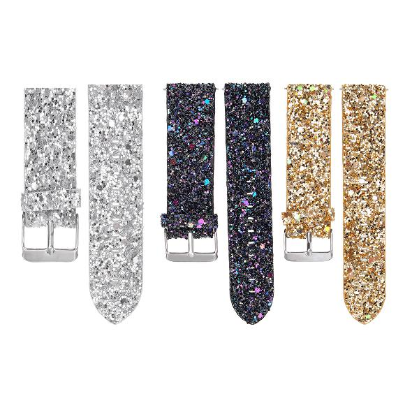 Replacement bling glitter leather wrist strap watch band for