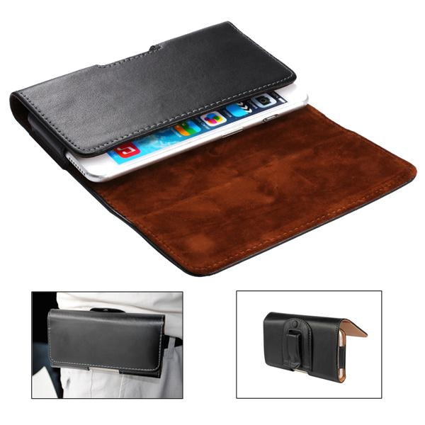 Universal clip-on magnetic flip cover waist bag pu leather