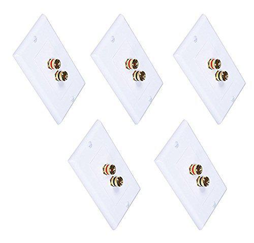 Imbaprice (5 pack) premium 2 connector banana wall plate -