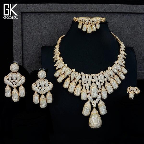 4pc nigerian jewelry set women's wedding cubic zirconia