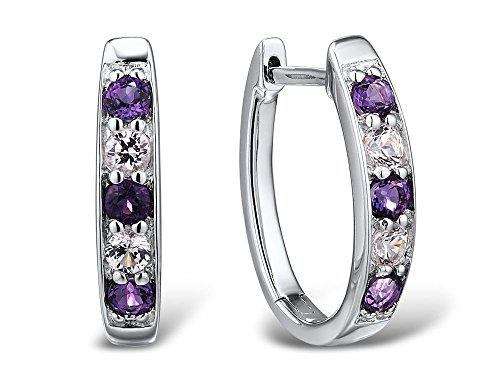 Amethyst and lab created white sapphire hoop earrings in