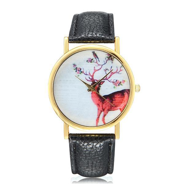 Fashion deer pattern gold color case pu leather band analog