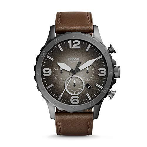 Fossil men's nate chronograph brown leather watch jr1424
