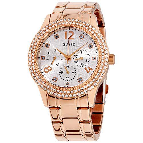 Guess bedazzle rose gold dial stainless steel ladies watch