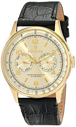 Invicta men's 6750 vintage light gold tone dial black