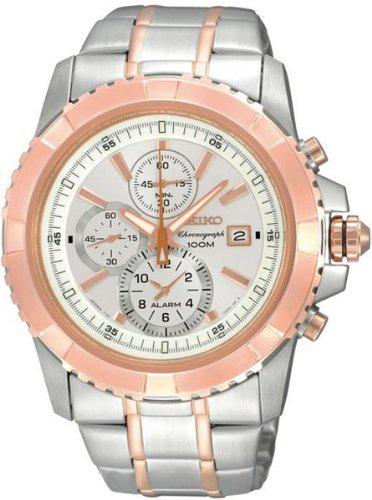 Men's snae08 two tone stainless steel alarm chronograph