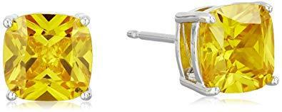 Platinum plated sterling silver cushion cut 7mm canary