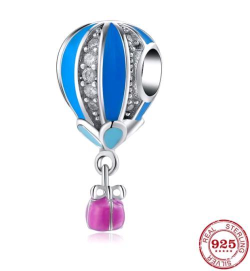 S925 blue and cz hot air balloon charm fits pandora