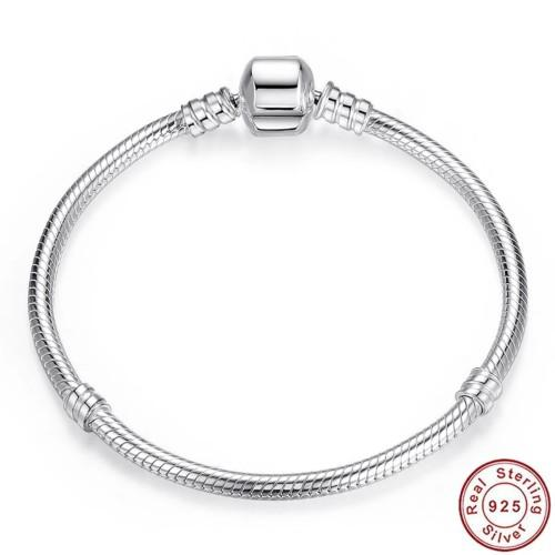 S925 sterling silver snake chain bracelet with barrel clasp,