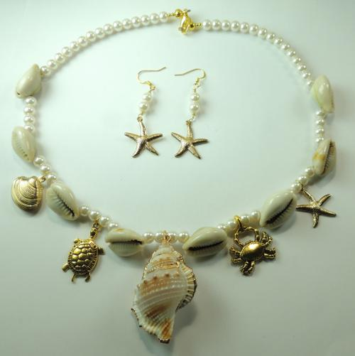 Sea shell pearl necklace with charms & earrings