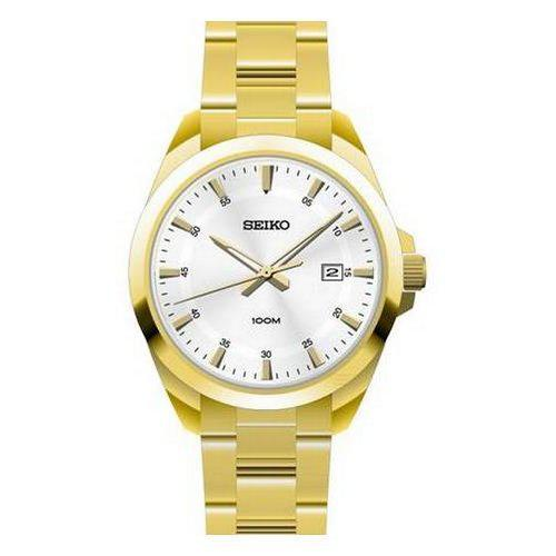 Seiko-quartz gents gold plated bracelet watch