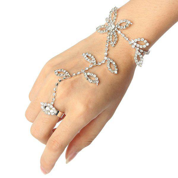 Silver plated leaves rhinestone ring bracelet crystal metal
