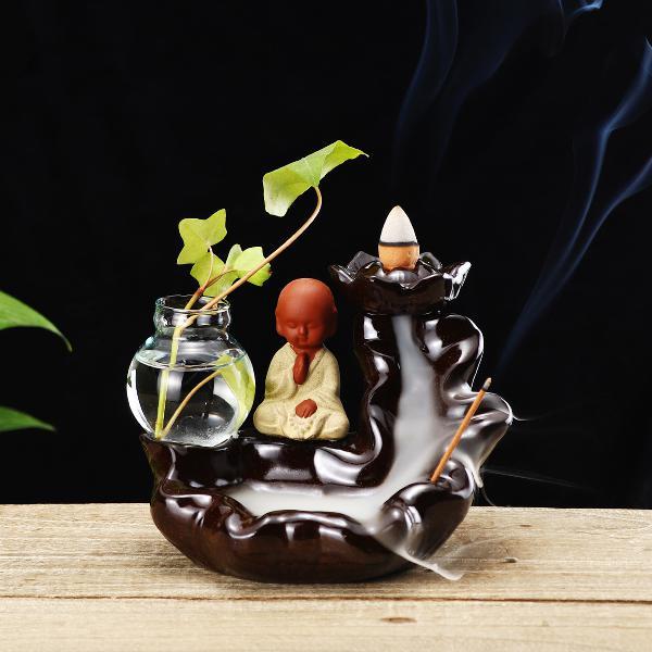 Ceramic backflow cone holder incense burner monk smoke