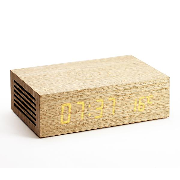 Wireless charging alarm clock bluetooth speaker with wood