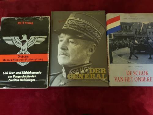 3 x large books concerning wwii - some signed, others