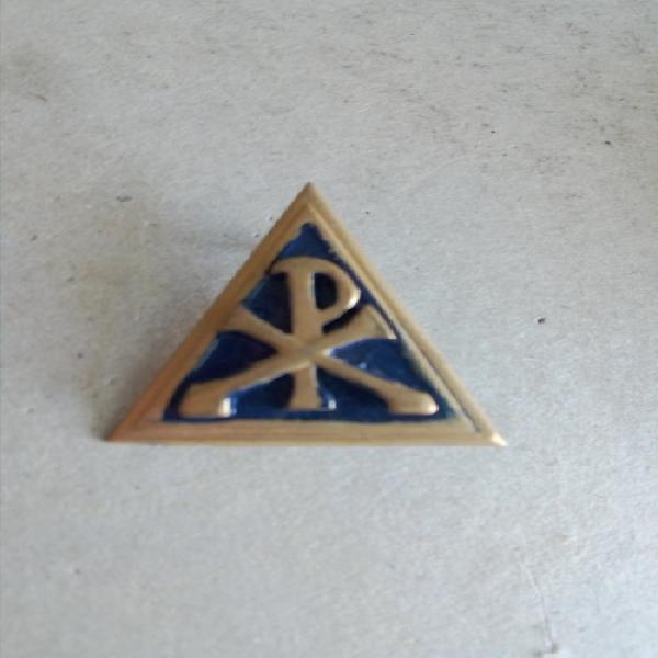 Sadf chaplain's brass & enamel mess dress shoulder title
