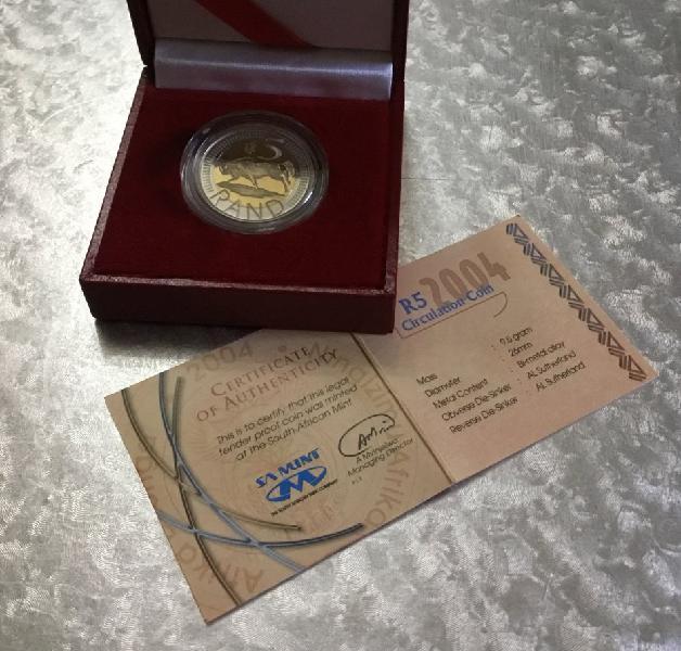2004 coin world mint mark five rand coin in sa munt box